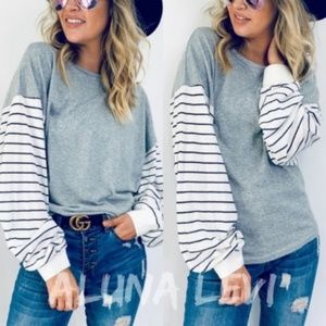RILEY Striped Sleeve Long Sleeve top